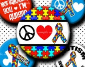 INSTANT DOWNLOAD Autism Awareness  (444) 4x6 Bottle Cap Images Digital Collage  for bottlecaps glass tiles hair bows .. bottlecap images
