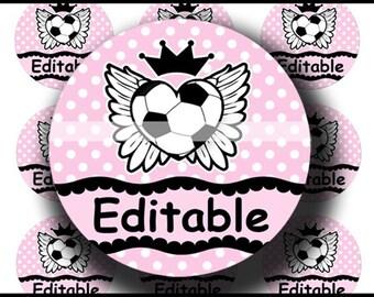 INSTANT DOWNLOAD Editable PDF Soccer Rocks (168) 4x6 Bottle Cap Images Digital Collage Sheet for bottlecaps hair bows .. bottlecap images