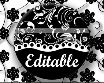 INSTANT DOWNLOAD Editable PDF Black and White Floral (170) 4x6 Bottle Cap Images Digital Collage Sheet for bottlecaps hair bows images