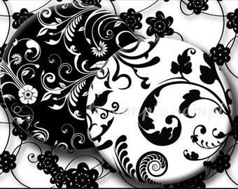 INSTANT DOWNLOAD Black and White Floral Designs (169) 4x6 Bottle Cap Images Digital Collage Sheet for bottlecaps hair bows bottlecap images