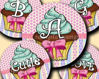 INSTANT DOWNLOAD Lovely Cupcake Alphabet (144) 4x6 Digital Collage Sheet Bottle Cap Images for bottlecaps glass tiles hair bows magnets ....