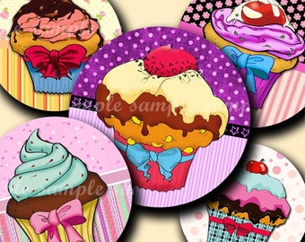 INSTANT DOWNLOAD Lovely Cupcakes Desings (148) 4x6 Bottle Cap Images Digital Collage Sheet bottlecaps glass tiles hair bows bottlecap images