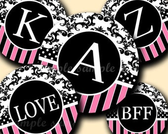 INSTANT DOWNLOAD Cutie Damask Alphabet (031) 4x6 Digital Collage Sheet Bottle Cap Images  for bottlecaps hair bows .. bottlecap images