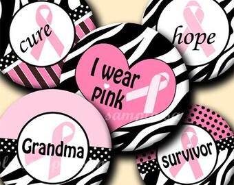 INSTANT DOWNLOAD Zebra Pink Ribbons (147) 4x6 Bottle Cap Images Digital Collage Sheet for bottlecaps glass tiles hair bows bottlecap images