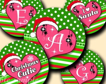 INSTANT DOWNLOAD Cutie Christmas Alphabet (085) 4x6 Digital Collage Bottle Cap Images for bottlecaps hair bows   bottlecap images