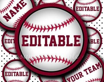 INSTANT DOWNLOAD Editable PDF Baseball (193) 4x6 Bottle Cap Images Digital Collage Sheet bottlecaps glass tiles hair bows bottlecap images