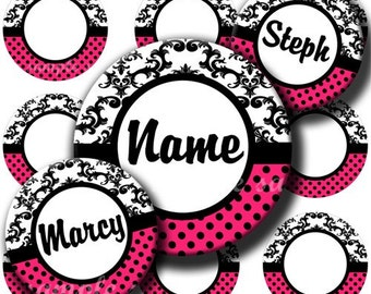 INSTANT DOWNLOAD Editable JPG Damask Hot Pink (199) 4x6 Bottle Cap Images Digital Collage Sheet for bottlecaps hair bows .. bottlecap images
