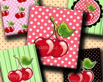 INSTANT DOWNLOAD I Love Cherries (207) 4x6 Digital Collage Sheet ( 0.75 inch x 0.83 inch ) scrabble tile images  for scrabble tiles  ..