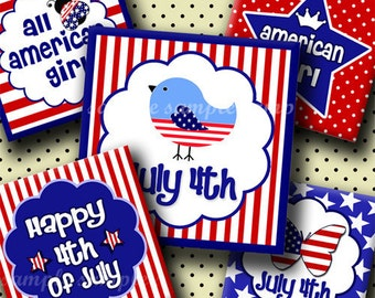INSTANT DOWNLOAD Patriotic 4th of July (232) 4x6 Digital Collage Sheet 1 inch square images for glass tiles resin pendants magnets