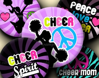 INSTANT DOWNLOAD Cheerleading (040) 4x6 1 inch round Bottle Cap Images Printable Digital Collage Sheet glass tiles hair bows cabochon images