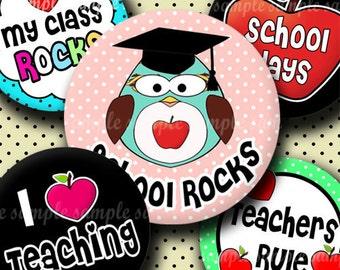 INSTANT DOWNLOAD School Rocks (262) 4x6 Bottle Cap Images Digital Collage Sheet for bottlecaps glass tiles hair bows .. bottlecap images
