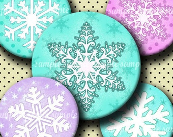 INSTANT DOWNLOAD Cutie Snowflakes (023) 4x6 Bottle Cap Images Digital Collage Sheet for bottlecaps hair bows  .. bottlecap images