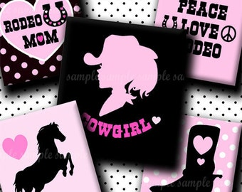 INSTANT DOWNLOAD Cowgirl (056) 4x6 Digital Collage Sheet ( 0.75 inch x 0.83 inch) scrabble tile images  for scrabble tiles resin pendants ..