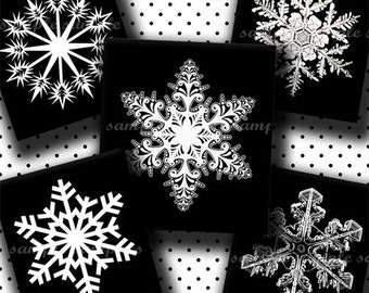 INSTANT DOWNLOAD Black And White Snowflakes (105) 4x6 Digital Collage Sheet (0.75 inch x 0.83 inch) scrabble tile images for scrabble tiles