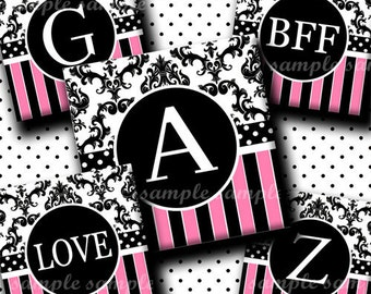 Cutie Damask Alphabet (134) 4x6 Digital Collage Sheet 1 inch square images ( 2 pages) for glass tiles  resin pendants  magnets stickers  ..