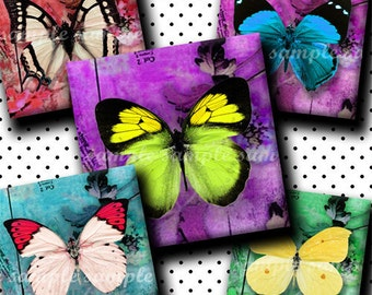 INSTANT DOWNLOAD Colorful Butterflies (135) 4x6 Digital Collage Sheet 1 inch square images for glass tiles resin pendants magnets stickers