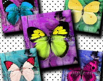 INSTANT DOWNLOAD Colorful Butterflies (138) 4x6 Digital Collage Sheet ( 0.75 inch x 0.83 inch ) scrabble tile images  for scrabble tiles ..