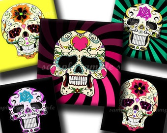 INSTANT DOWNLOAD Colorful Sugar Skulls (151) 4x6 Digital Collage Sheet 1 inch square images for glass tiles resin pendants magnets