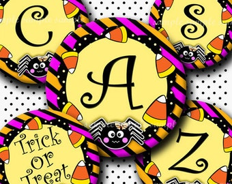 INSTANT DOWNLOAD Halloween Cute Spider Alphabet (284) 4x6 Digital Collage Sheet Bottle Cap Images for bottlecaps hair bows  bottlecap images