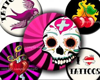 INSTANT DOWNLOAD Tattoo Designs (342) 4x6 Bottle Cap Images Digital Collage Sheet for bottlecaps hair bows magnets .. bottlecap images