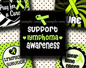 INSTANT DOWNLOAD Lime Green Lymphoma Awareness Ribbons (360) 4x6 Digital Collage Sheet 1 inch square images for glass tiles resin pendants