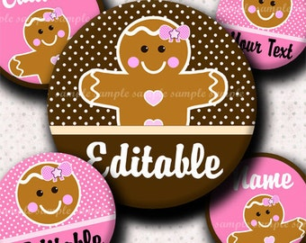 INSTANT DOWNLOAD Editable JPG Girly Gingerbread (379) 4x6 Bottle Cap Images Digital Collage Sheet for bottlecaps hair bows bottlecap images