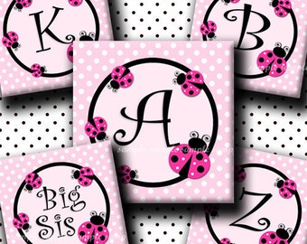 INSTANT DOWNLOAD Cutie LadyBug Alphabet (154) 4x6 Digital Collage Sheet 1 inch square images ( 2 pages)  for glass tiles resin pendants ..