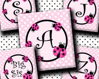 INSTANT DOWNLOAD Cutie LadyBug Alphabet (155) 4x6 Digital Collage Sheet ( 0.75 inch x 0.83 inch ) scrabble tile images for scrabble tiles