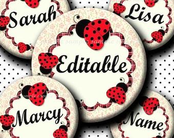 INSTANT DOWNLOAD Editable PDF Red Spring Cutie Ladybug (391) 4x6 Bottle Cap Images Digital Collage for bottlecap hair bows bottlecap images