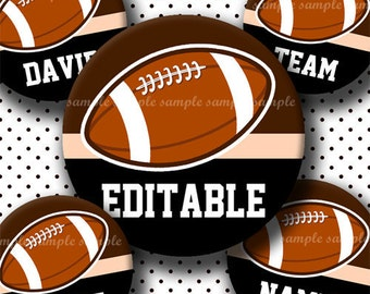 INSTANT DOWNLOAD Editable PDF Football Ball (401) 4x6 Bottle Cap Images Digital Collage Sheet for bottlecaps hair bows bottlecap images