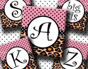 INSTANT DOWNLOAD Pink Leopard Alphabet (417) 4x6 Digital Collage Sheet (0.75 inch x 0.83 inch) scrabble tile images (2 pages) scrabble tiles