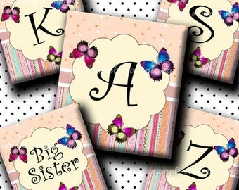 INSTANT DOWNLOAD Lovely Butterflies Alphabet (418) 4x6 Digital Collage Sheet (0.75 inch x 0.83 inch) scrabble tile images (2 pages) scrabble