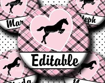 INSTANT DOWNLOAD Editable PDF I Love Horses (426) 4x6 Bottle Cap Images Digital Collage Sheet  bottlecaps glass hair bows bottlecap images