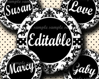 INSTANT DOWNLOAD Editable JPG Black And White Damask (430) 4x6 Bottle Cap Images Digital Collage Sheet bottlecaps hair bows bottlecap images