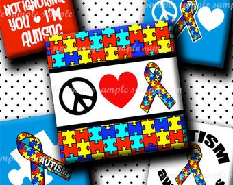 INSTANT DOWNLOAD Autism Awareness (445) 4x6 Digital Collage Sheet 1 inch square images for glass tiles resin pendants magnets stickers ..
