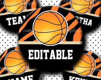 INSTANT DOWNLOAD Editable PDF Basketball (457) 4x6 Bottle Cap Images Digital Collage Sheet for bottlecaps hair bows .. bottlecap images