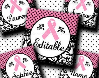 INSTANT DOWNLOAD Editable JPG Damask Pink Ribbon (481) 4x6 1 inch Square Images Digital Collage Sheet for glass tiles  resin pendants ..