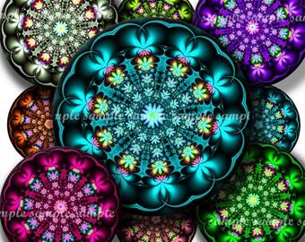 INSTANT DOWNLOAD Fractal Flowers (482) 4x6 Bottle Cap Images Digital Collage Sheet for bottlecaps glass tiles hair bows .. bottlecap images