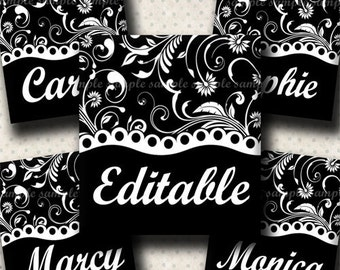 INSTANT DOWNLOAD Editable JPG Black and White Floral (489) 4x6 Digital Collage Sheet 0.75 inch x 0.83 inch (scrabble size)  scrabble tiles