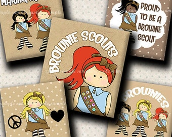 INSTANT DOWNLOAD Brownie Scouts (511) 4x6 Digital Collage Sheet ( 0.75 inch x 0.83 inch ) scrabble tile images  for scrabble tiles ..