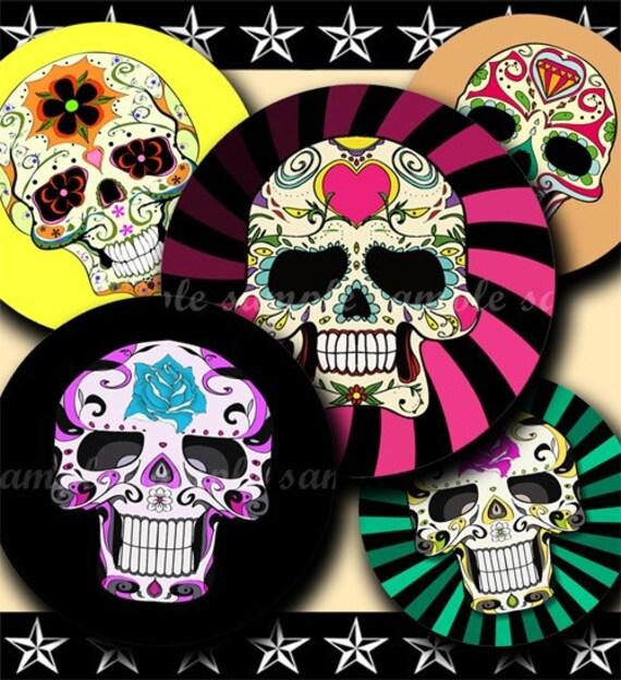 INSTANT DOWNLOAD Colorful Sugar Skulls (150) 4x6 Bottle Cap Images Digital Collage Sheet  bottlecaps glass tiles hair bows bottlecap images