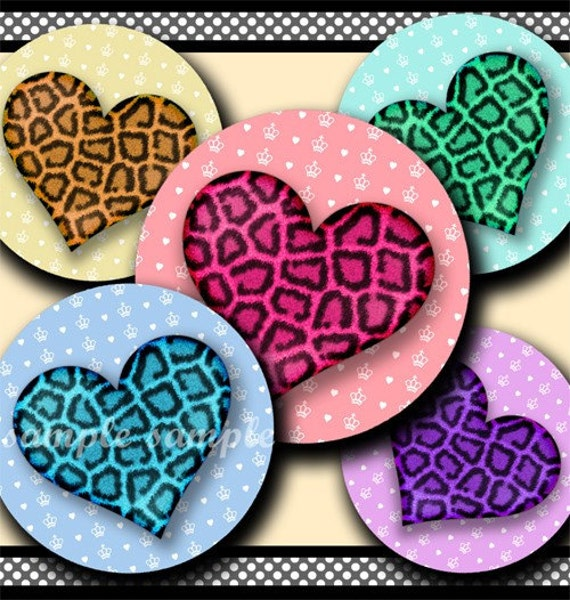 INSTANT DOWNLOAD Girly Leopard Hearts (115) 4x6 Bottle Cap Images Digital Collage Sheet bottlecaps glass tiles hair bows . bottlecap images