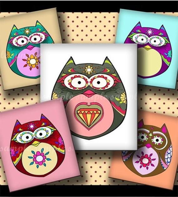 INSTANT DOWNLOAD Cutie Floral Owls (224) 4x6 Digital Collage Sheet (0.75 inch x 0.83 inch) scrabble tile images for scrabble tiles