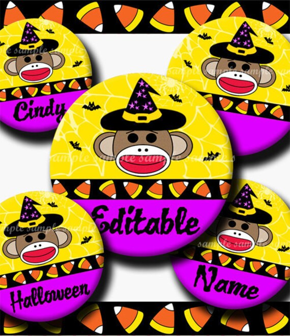 INSTANT DOWNLOAD Editable JPG Halloween Sock Monkey (281) 4x6 Bottle Cap Images Digital Collage Sheet for bottlecaps hair bows images