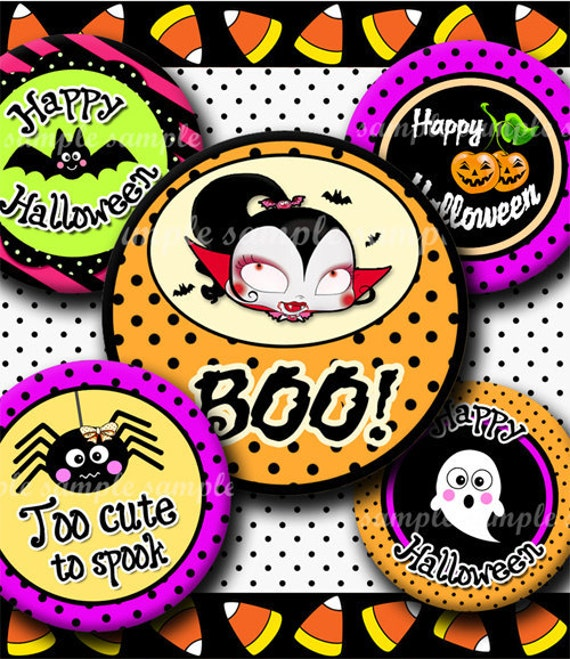 INSTANT DOWNLOAD Happy Halloween (286) 4x6  Bottle Cap Images Digital Collage Sheet for bottlecaps glass tiles hair bows .. bottlecap images