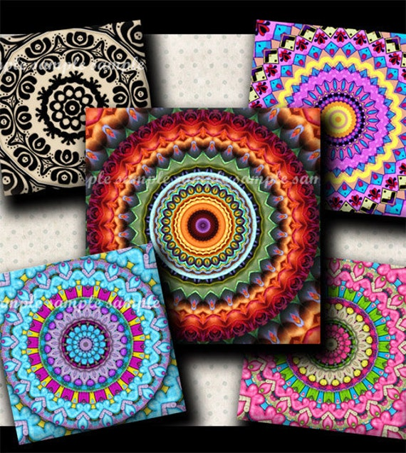 INSTANT DOWNLOAD Mandalas (367) 4x6 Digital Collage Sheet 1 inch square images for glass tiles resin pendants magnets stickers ..