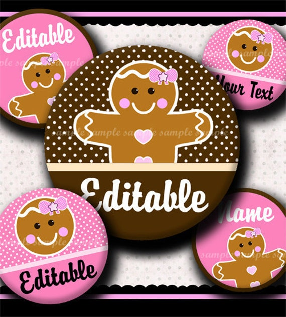 INSTANT DOWNLOAD Editable JPG Girly Gingerbread (379) 4x6 Bottle Cap Images Digital Collage Sheet for bottlecaps hair bows bottlecap images