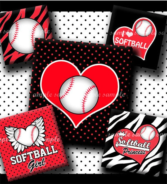 INSTANT DOWNLOAD Softball Rocks (436) 4x6 Digital Collage Sheet 1 inch square images for glass tiles resin pendants magnets stickers ..