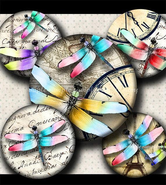 INSTANT DOWNLOAD Colorful Dragonflies (497) 4x6 Bottle Cap Images Digital Collage Sheet for bottlecaps hair bows magnets .. bottlecap images
