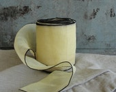 vintage yellow ribbon sheer butter yellow with black edging nearly 25 feet